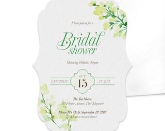 Floral Bridal Shower Invitation / Wedding Invitation / Floral Party Invitation / Spring and Summer Party Invite / Vintage Silhouette Card