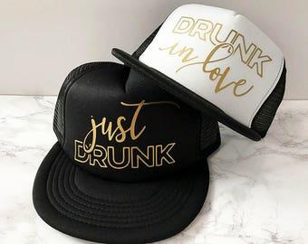 READY TO SHIP! Drunk In Love Hat + Just Drunk Hats | Bachelorette Hat | Bridesmaids Hats | Beyonce Bachelorette | Bridal Party Hats