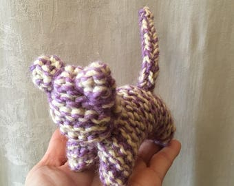 Large Waldorf Inspired 100% Wool Knitted Kitten - Purple and Off White