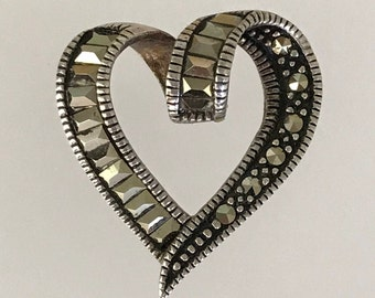 """Lovely Vintage Sterling Silver and Marcasite Heart Pendant with Antique look. Hallmarked . Great Valentines Day Gift! 6/8"""" x 6/8""""."""
