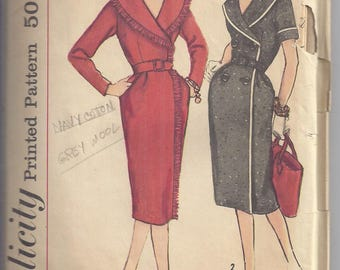 Vintage Simplicity 3190 from 1959  Misses Wrap around Dress,  Bust 32   Uncut Pattern