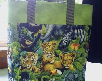 Childrens Wild Animal Tote Bag Wild Animal Library Tote Tiger Elephant Monkey