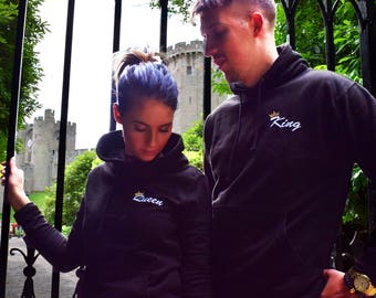 King & Queen Black Embroidered Hoodies Twin Pack. Cute Couples Matching Goals Novelty Chill Relationships Gifts for her His and Hers