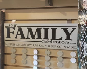 Our Family Celebrations, Anniversary, Birthday Board