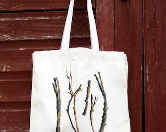 Sticks and twigs Canvas bag, Fairtrade cotton bag, Photographic print, Nordic print