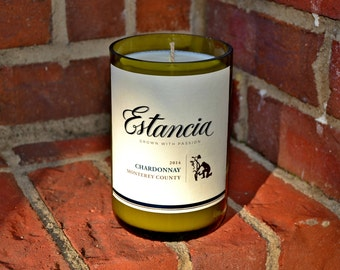 Estancia Chardonnay wine bottle candle made with soy wax