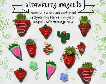 Polymer Clay Strawberry Magnet Planter