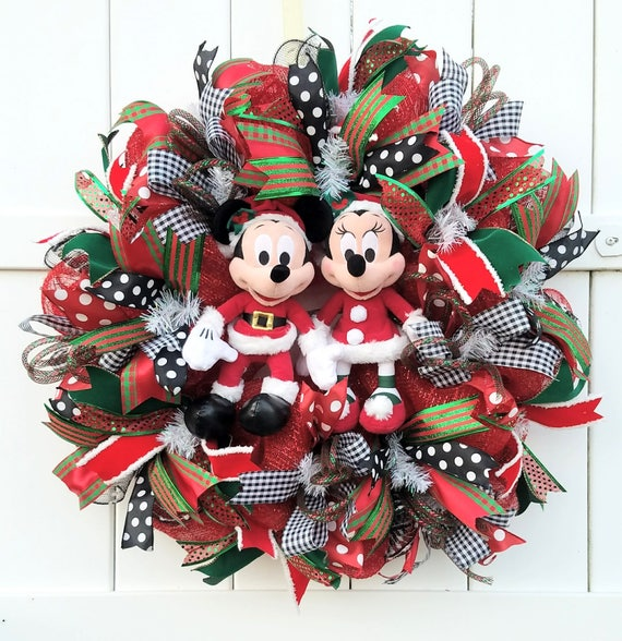 Bien-aimé Noël Mickey et Minnie Wreath père Noël Mickey et Minnie EP78