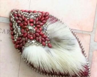 Bead Embroidery and Mink Fur Pin Handmade Brooch
