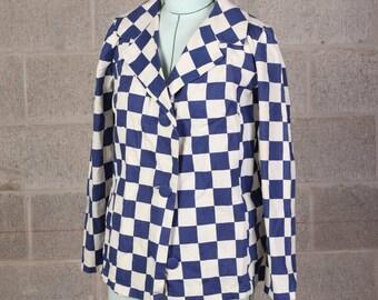 60s Vintage Women's Rockabilly Blue Checkerboard Cotton Blazer Jacket Size 6 / 8