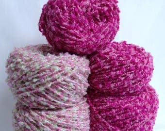 Pink Boucle Yarn Cakes Bundle, Textured Yarn for Knitting, Crocheting or Fiber Art, Nubby Yarn Destash Craft Supply Embellishment Yarn