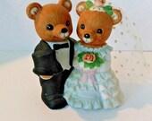 Vintage  Porcelain Teddy Bear bride and groom, 1407, Homeco, Home Interiors, 1980's, wedding bears, bride and groom bears