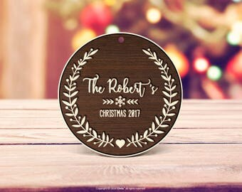 Rustic wood 2018 Personalized Christmas Ornament Gift Wood First Christmas Ornament Married First Christmas Ornament Personalized Ornament 5