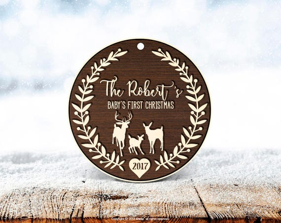 Christmas decorations personalised Baby's First Christmas Ornament Family Deer Christmas Ornament Personalized New Baby Girl Gift 50