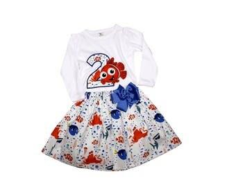 Girl Nemo  birthday outfit, Nemo Dory dress girl applique outfit toddler  Nemo outfit girl name outfit girl dress girl outfit baby outfit