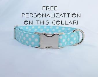 """Aqua polka dots, adjustable dog collar, Metal buckle, medium, 1"""", Dog Collar, FREE PERSONALIZATION"""