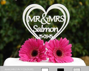 Personalised Mr and Mrs Heart Wedding Cake Topper - Personalise Surname Up To 9 Characters Long & The Wedding Date.