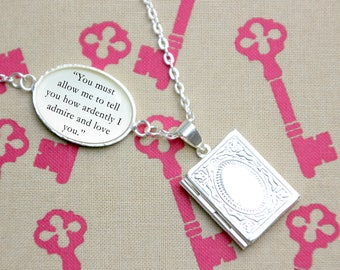 "Pride and Prejudice Book Locket Library Charm Jane Austen Quote Literary Gifts Jewelry Jewellery Necklace ""How ardently I admire love you"""