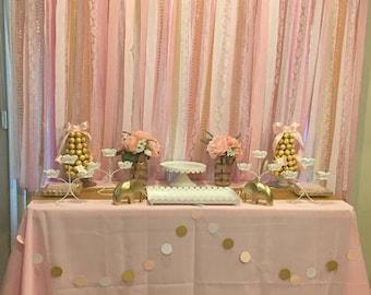 Backdrop, Gold, white, pink, photoshoot, first birthday, fabric backdrop, bridal shower, background, cake smash, baby shower