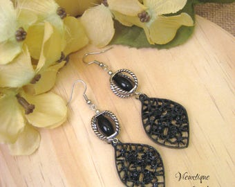 Black Statement Earrings, Black and Silver Earrings, Long Earrings, Drop Earrings, Filigree Earrings, One of a Kind