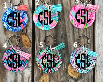 Lily Inspired Keychains~ Lily keychain with Monogram & Tassel~ Monogrammed Keychain