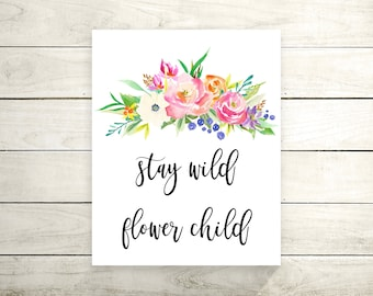 Stay Wild Flower Child Canvas Print   Canvas Quote Print   Art Print   Canvas  Wall Part 60