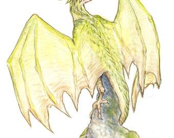 Dragon Wyvern Watercolor 8x10 Art Print Fantasy Art
