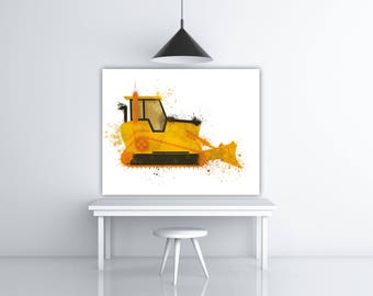 Construction Truck Birthday Decor Boy Nursery Artwork, Bulldozer Decoration, Digger Print, Truck Nursery Print Boy, Backhoe Print Kids Truck