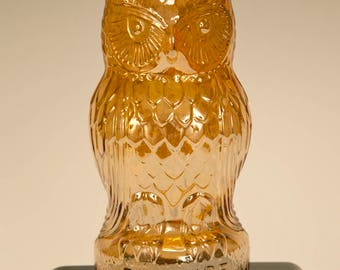 Be Wise Carnival Glass Amber Owl Bank
