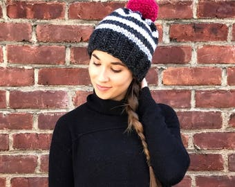 Knit Hat, Striped Hat, Black & White Knit Hat, Pink Pom Pom Hat, Neutral Knit Hat, Knit Beanie, Womens Hat, Adult Hat, Winter Hat, Fall Hat