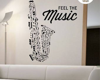 Saxophone Wall Decal Vinyl Sticker Art Decor Bedroom Design Mural school education educational sounds artist musician home decor wall decor