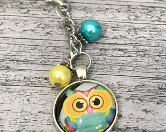 Yellow and Teal Owl Beaded Glass Cabochon Planner Charm / Key Fob