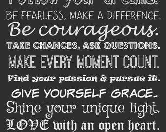 Be true to who you are~5x7 card~know your own heart~follow your dreams~be courageous~inspiration~encouragement~make every moment count