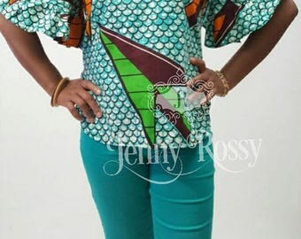African clothing casual Top Ankara ruffle sleeves Blouse African print TOP
