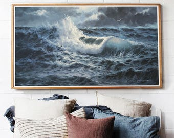 Sea in storm-oil on canvas large size 125 x 63.5 cm