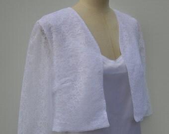 Bolero lace Cardigan wedding lace, lace wedding white bridal lace bolero cover-up white sleeve bolero 3/4