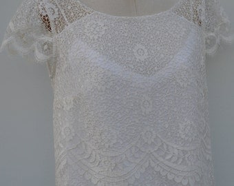 Blouse lace bridal ivory lace blouse, boat neck blouse short sleeve lace blouse, tunic ivory lace, wedding, bride