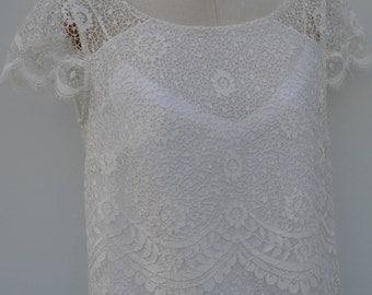 Blouse lace bridal ivory lace blouse, boat neck blouse short sleeve lace blouse, tunic ivory lace, wedding, bride