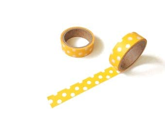 Yellow Polka Dots Washi Tape • Decorative tape, paper tape, craft tape, polka dots tape, scrapbook tape, yellow tape