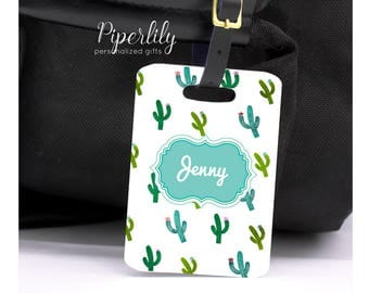 Luggage Tag Cactus Personalized Bag Tag Custom Luggage Tag Personalized Luggage Tag Name Green Blue Travel Tag Suitcase Tags Vacation Idea