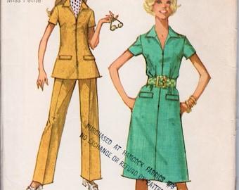 "Zipper Dress Zipper Tunic and Pants 1970s Dress Pattern SIMPLICITY 9326 bust 38"" Petite Dress Pattern Waitress Dress Retro Dress Pattern"