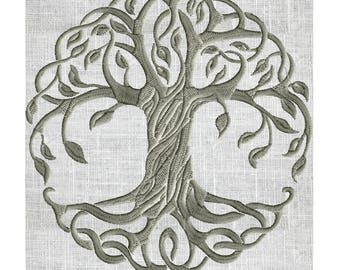Tree of Life Embroidery Design -Font not included- EMBROIDERY DESIGN FILE - Instant download - 2 sizes & Hus Dst Jef Pes VP3 Exp formats