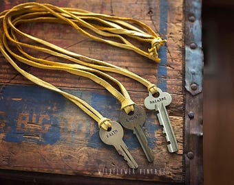 Hand Stamped Key Necklace on Mustard Leather Cord | Hand Stamped Vintage Repurposed Fall Yellow