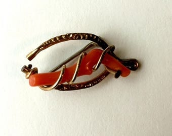 Antique Victorian Gold Filled Coral Wishbone Love Knot Pin