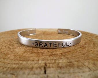 Grateful - Hand-Stamped Bangle