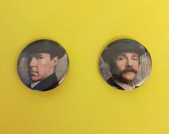 Sherlock Holmes and John Watson BBC Sherlock Pinback Buttons