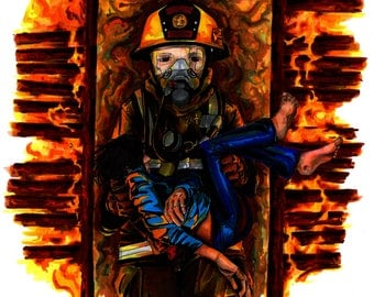 """8 x 10 inch Fine Art Print - """"Through the Flames"""" Tribute to the Thin Red Line of the Fire Service"""