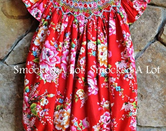 Hand Smocked girls short bubble red Ring around the Rosie floral rose by Smocked A Lot Birthday dress
