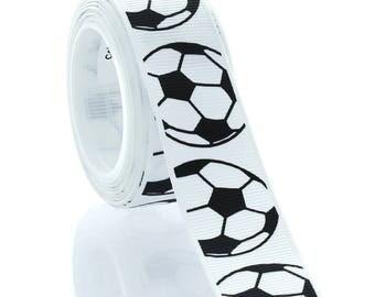 """7/8"""" Soccer Ball Grosgrain Ribbon - Choose Length"""