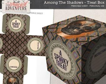 Printable Halloween Treat Box, Digital Download, DIY Halloween Party Gift Box, Printable Collage Sheet, Skull, Paint, Halloween Pattern